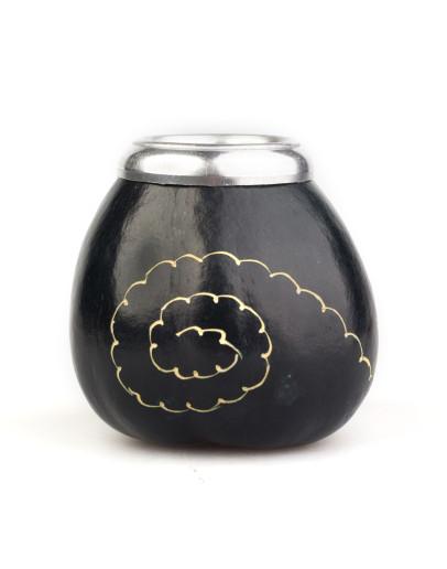 Calabaza Espiral Negra - Calabash for yerba mate - Black with pattern