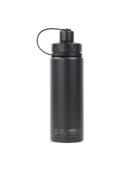 EcoVessel - Insulated Water Bottle Boulder - Black Shadow 600 ml