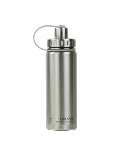 EcoVessel - Insulated Water Bottle Boulder - Silver Express 600 ml