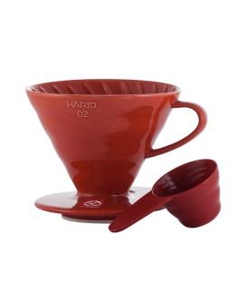 Hario V60-02 Ceramic Coffee Dripper Red
