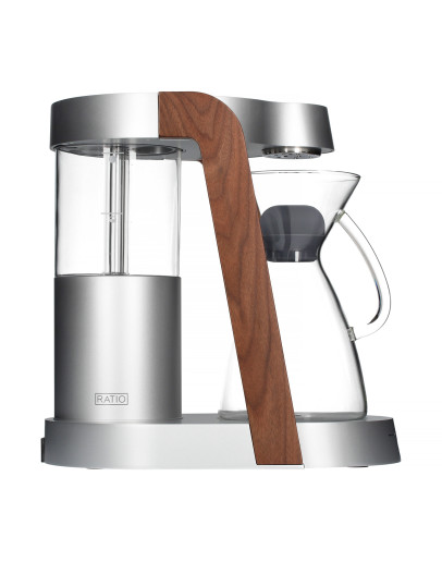 Ratio Eight Coffee Maker - Bright Silver / Walnut