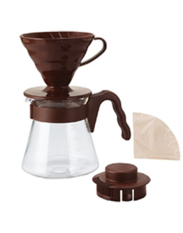 Hario V60 Brown Pour Over Kit  – dripper +  server  + filters
