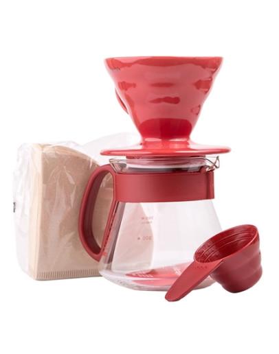 Hario V60 Dripper & Red Pot Set  – dripper + server + filters