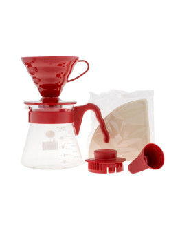 Hario V60 Pour Over Kit Red – dripper +  server  + filters
